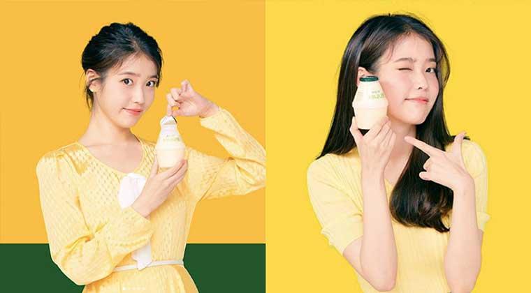 """IU穿""""香蕉色""""代言""""香蕉牛奶""""可爱连拍粉丝都融化"""